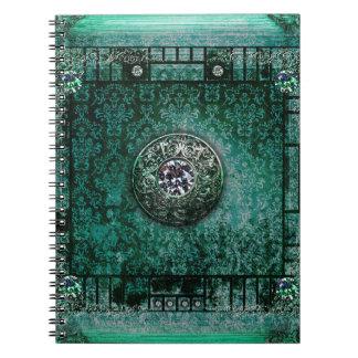 かわいらしいターコイズの古代巻の中世魔法の本 ノートブック