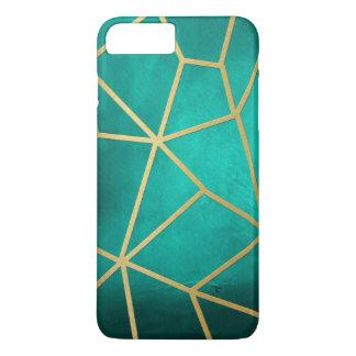 かわいらしいティール(緑がかった色)の金ゴールドの骨があるモザイク iPhone 8 PLUS/7 PLUSケース