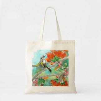 かわいらしいハチドリおよびオレンジの花のトート トートバッグ