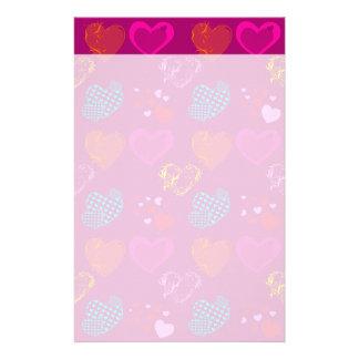かわいらしいハート紫色のピンクのガーリーな愛パターン 便箋