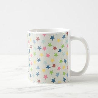 かわいらしいパステル調のヴィンテージの星パターン コーヒーマグカップ