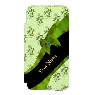 かわいらしいパステル調の緑のヴィンテージの花柄パターン INCIPIO WATSON™ iPhone 5 財布 ケース