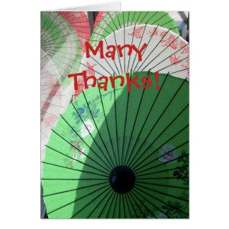かわいらしいパラソルのメッセージカード -- ブランク カード
