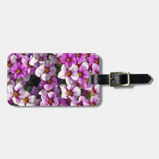 かわいらしいピンクおよび紫色のペチュニアの花柄 ラゲッジタグ