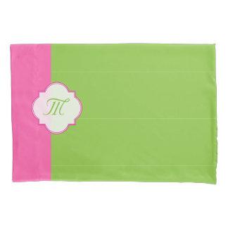 かわいらしいピンクおよび緑 枕カバー