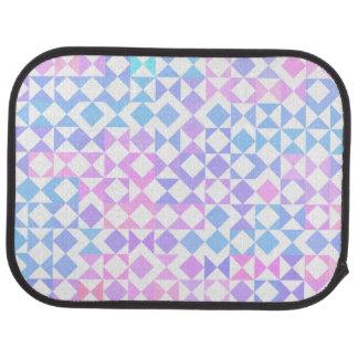 かわいらしいピンクおよび青く幾何学的でアステカなパターン カーマット