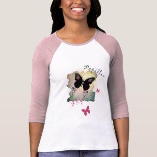 かわいらしいピンクおよび黒い蝶Tシャツ Tシャツ