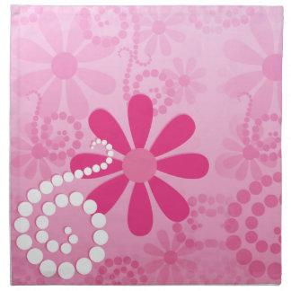 かわいらしいピンクによってはかわいいレトロのデイジーパターンが開花します ナプキンクロス