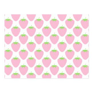 かわいらしいピンクのいちごパターン ポストカード