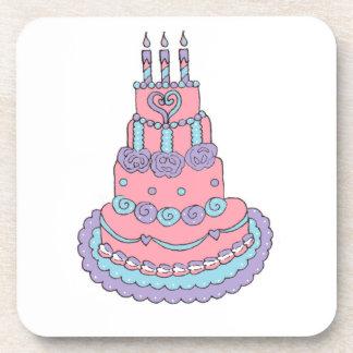 かわいらしいピンクのお誕生日ケーキ コースター