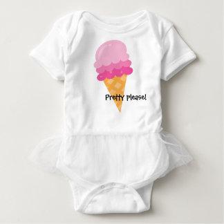 かわいらしいピンクのアイスクリームのベビーのチュチュ ベビーボディスーツ