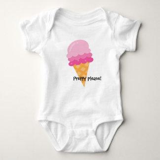 かわいらしいピンクのアイスクリームのベビーのボディスーツ ベビーボディスーツ