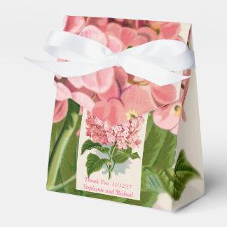 かわいらしいピンクのアジサイのカスタムな結婚式は感謝していしています フェイバーボックス