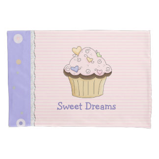 かわいらしいピンクのカップケーキの枕箱 枕カバー