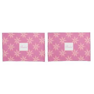 かわいらしいピンクのガーリーな花の名前をカスタムする1/or 2のセット 枕カバー