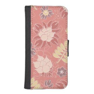 かわいらしいピンクのガーリーな花柄 iPhoneSE/5/5sウォレットケース