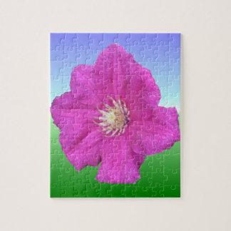 かわいらしいピンクのクレマチスの花 ジグソーパズル