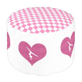 かわいらしいピンクのチェック模様の体操 プーフ