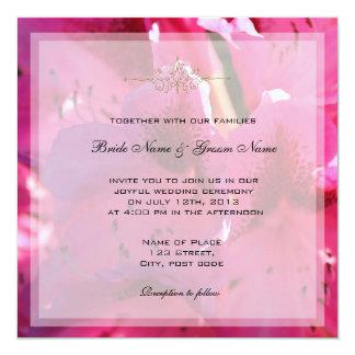 かわいらしいピンクのツツジによっては結婚式招待状が開花します カード
