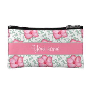 かわいらしいピンクのハイビスカスの花 コスメティックバッグ