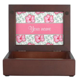 かわいらしいピンクのハイビスカスの花 ジュエリーボックス