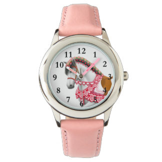 かわいらしいピンクのハートパレードの馬の子供の腕時計 腕時計