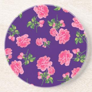 かわいらしいピンクのバラのコースター(暗い紫色) コースター