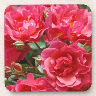 かわいらしいピンクのバラのプリントのコースター コースター