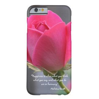 かわいらしいピンクのバラ、幸福の引用文、Mahatma Gandhi Barely There iPhone 6 ケース