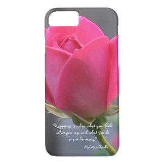 かわいらしいピンクのバラ、幸福の引用文、Mahatma Gandhi iPhone 8/7ケース