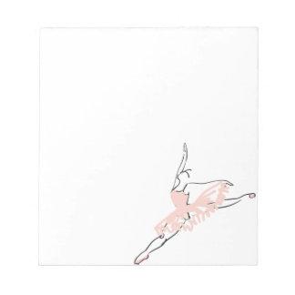 かわいらしいピンクのバレリーナ ノートパッド