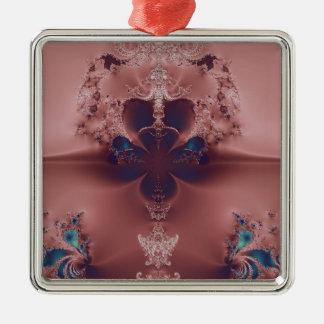 かわいらしいピンクのフラクタル シルバーカラー正方形オーナメント