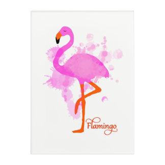 かわいらしいピンクのフラミンゴの芸術的なペンキの(ばちゃばちゃ)跳ねる アクリルウォールアート