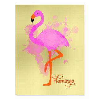 かわいらしいピンクのフラミンゴの芸術的なペンキの(ばちゃばちゃ)跳ねる ポストカード