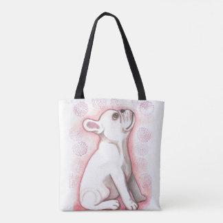 かわいらしいピンクのフレンチ・ブルドッグのかわいい戦闘状況表示板 トートバッグ