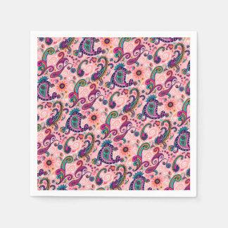 かわいらしいピンクのペイズリーパターン スタンダードカクテルナプキン