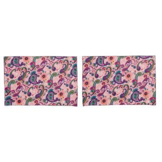 かわいらしいピンクのペイズリーパターン 枕カバー