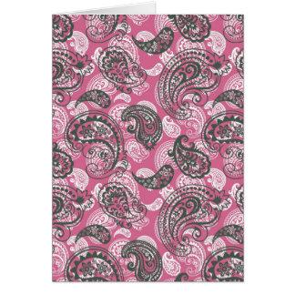 かわいらしいピンクのペイズリー カード