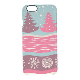 かわいらしいピンクのレトロのメリークリスマスの木パターン クリアiPhone 6/6Sケース