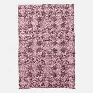 かわいらしいピンクのレース花パターン皿タオル キッチンタオル
