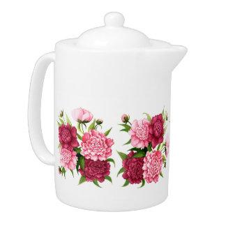 かわいらしいピンクのヴィンテージの花の熱い飲料のポット