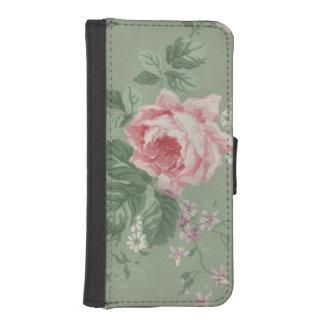 かわいらしいピンクのヴィンテージの茶バラの花柄 iPhoneSE/5/5sウォレットケース