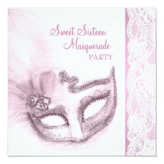 かわいらしいピンクの仮面舞踏会のSweet sixteenのパーティー カード