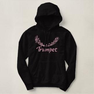 かわいらしいピンクの刺繍のトランペットのフード付きスウェットシャツ 刺繍入りパーカ