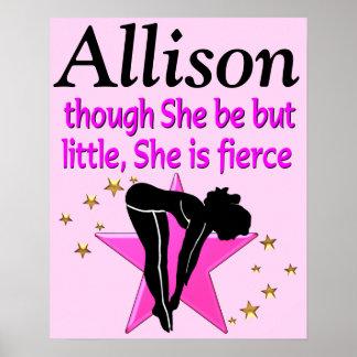 かわいらしいピンクの名前入りなダイビングの星ポスター ポスター