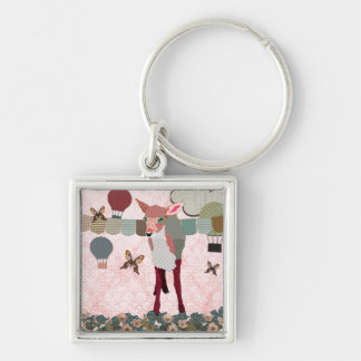 かわいらしいピンクの子鹿の気球の競争Keychain キーホルダー