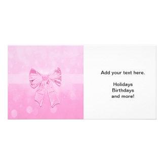 かわいらしいピンクの弓 カード