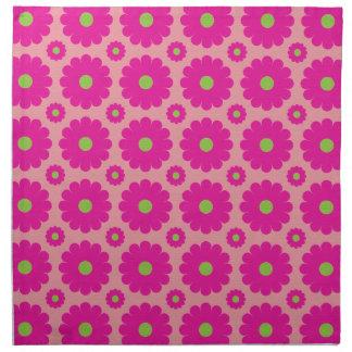 かわいらしいピンクの抽象デザインのポップアートの花 ナプキンクロス