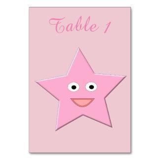かわいらしいピンクの星のカスタムTablecard カード