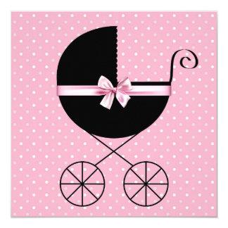 かわいらしいピンクの水玉模様のベビーシャワー カード